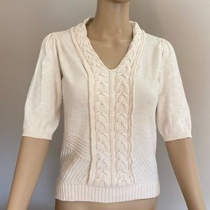 MOTH ivory short sleeve sweater, size M